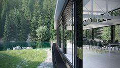 modern house on the river Cgi, Behance, River, Gallery, Modern, House, Trendy Tree, Roof Rack, Home
