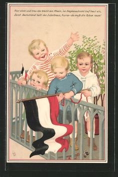 carte postale ancienne: CPA Illustrateur Lia Döring: des enfants avec Reichsfahne in einem Laufgitter