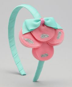 Delightfully Preppy Kids Pink & Turquoise Petal Headband