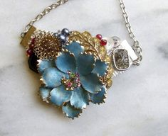 Blue flower Bib Necklace Upcycled Jewelry by CottageJewels on Etsy, $40.00