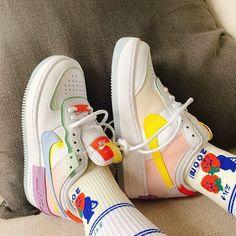 Custom Sneakers, Custom Shoes, Sneakers Nike, Air Force 1, Nike Air Force, Purple Yellow, Blue, Nike Women, Diamond
