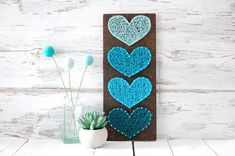 Four hearts ombré string art Four hearts, heart, string art, wood sign, sign, handmade, blue, home decor