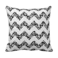Black And White Chevron And Damasks Pattern Throw Pillows #blackwhitechevronpillows #blackwhitethrowpillows