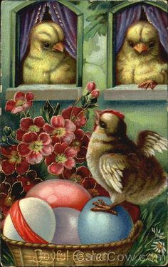 Chicks with Easter eggs and flowers With Chicks
