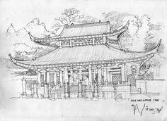 Sam Poo Kong Temple Pencil Sketch