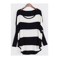 Rotita Batwing Sleeve Round Neck Wide Striped Pullover ($11) ❤ liked on Polyvore featuring tops, sweaters, multi color, round neck sweater, bat sleeve tops, long sleeve tops, collared sweater and pullover sweater