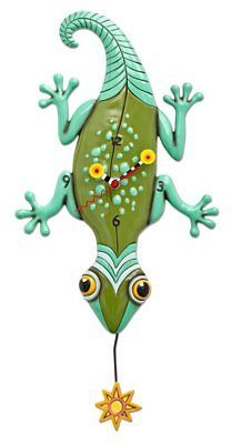 """Who doesn't love the detail and whimsicality of a Lizard/Gecko! This whimsical clock features: measures x hand-painted sun clock hands swinging sun pendulum cast in resin, finished by hand requires """"AA"""" battery Pendulum Wall Clock, Wall Clocks, Clock Art, Red Clock, Wall Clock Design, Spring Bouquet, Pretty Patterns, Home Wall Decor, Wall Signs"""