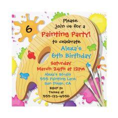 Art Painting Birthday Party Invitations - Zazzle.com.au