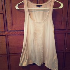 GAP lightweight sleeveless shirt Light pink color, cute tulle design down the front and around the edges. GAP Tops