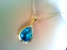 Sea Green long teardrop Pendant, Charm,Necklace - 14K Gold Filled Chain -bridesmaid gifts, Gemstone,wedding jewelry. $23.00, via Etsy.