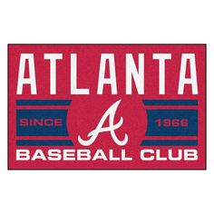 Show off your favorite team with this FANMATS MLB Atlanta Braves Navy Blue Accent Rug. Serged borders for added durability. Atlanta Baseball, Chicago Cubs Baseball, Braves Baseball, Atlanta Hawks, Area Rug Sizes, Area Rugs, Vinyl Rug, Sports Team Logos, Nylon Carpet