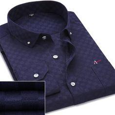 9a43f7946 New chegou 2016 trabalho dos homens camisas de marca manga comprida listrado    sarja homens vestem camisas brancas camisas masculinas …