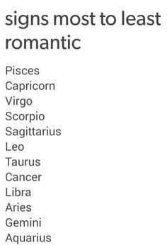Signs most to least romantic  #Zodiac