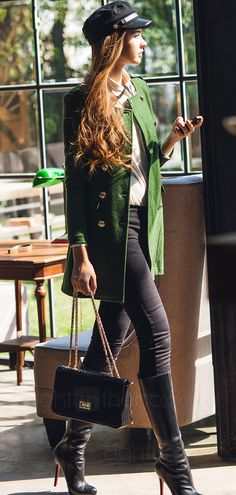 Cream Peter Pan Collar Blouse with Black Detailing, Black Leggings, Black High Heel Boots, Forest Green Military Inspired Peacoat, Black Newsboy Cap // stylish