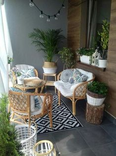 Small Balcony Design, Small Balcony Decor, Outdoor Balcony, Outdoor Decor, Balcony Garden, Outdoor Patios, Tiny Balcony, Garden Bed, Rattan Garden Furniture