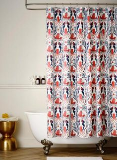 Mermaids Red Coral Shower Curtain