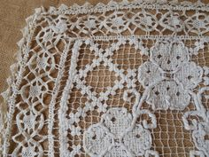 Antique French Hand Crocheted Filet Lace by SophieLadyDeParis