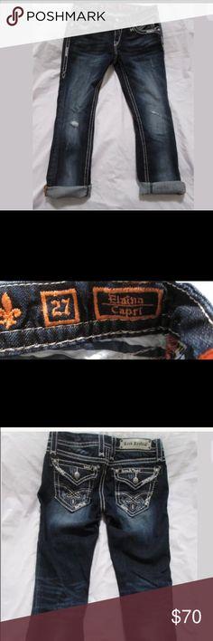 Rock revival capris Elaina rock revival capris, denim, size 27 w Rock Revival Jeans Ankle & Cropped