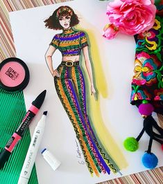 Have a colorful day )) 🌺🌻🏵🌼🌸🍁🍀💐 . Fashion Drawing Dresses, Fashion Illustration Dresses, Dress Illustration, Fashion Design Portfolio, Fashion Design Drawings, Fashion Sketches, Fashion Books, Fashion Art, Hidrocor