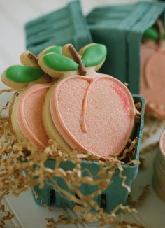 Bake at You're a Peach! Bake at You're a Peach! Peach Cookies, Iced Cookies, Cute Cookies, Cookies Et Biscuits, Sugar Cookies, Iced Biscuits, Drop Cookies, Cupcakes, Cupcake Cookies
