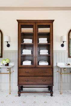 Guest Bathrooms, Bathroom Renos, Bathroom Interior, Master Bathroom, Bathroom Inspiration, Home Decor Inspiration, Style Inspiration, Hoosier Cabinet, China Cabinet