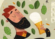 Italian Craft Beer Festival on Behance Craft Beer Festival, Coffee Crafts, Retro Illustration, Digital Illustration, Art Tutorials, Illustrators, Character Design, Art Prints, Sorority Canvas