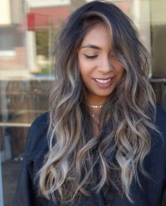 60 Shades of Grey: Silver and White Highlights for Eternal Youth – Balayage Hair Hair Color And Cut, Ombre Hair Color, Hair Color Balayage, Hair Highlights, White Highlights, Ashy Brown Hair Balayage, Ashy Hair, Haircolor, Brown Blonde Hair