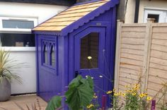 Gothic half shed finished with sadolin classic in african violet Firewood Storage, Shed Storage, Storage Ideas, Garden Buildings, Garden Structures, Posh Sheds, Shed Landscaping, Gothic Garden, Building A Shed
