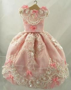 miniature dresses | 12 Scale Doll House Miniature Pink Silk and Dolls Clothes and ...