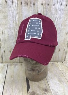 3de18ff790359 State of Alabama Embroidered Grey and White Arrows Raggy Patch Distressed  Solid Crimson Baseball Cap