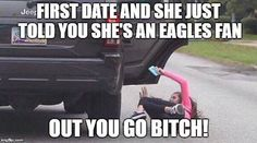 First date goes wrong fast. Dallas Cowboys Memes, Eagles Fans, Fan Out, Told You So, Dating, Humor, Bye Bye, Emoticon, Football