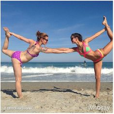 Nina and friend yoga-ing it up on the beach!