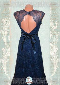 Navy blue Evening lace dress prom long dress by giveme2ndchance