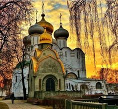 Onion domes of Smolensky Cathedral in Novodevichy Convent, Moscow
