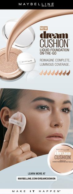 Get complete, luminous foundation coverage with a fresh-faced finish with Maybelline Dream Cushion Foundation.  Available in 8 luminous shades in a convenient, on-the-go compact so you can touch up anywhere.