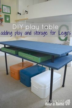DIY play table title with WM, This shared boys bedroom needed to become a functional space for storage and play. Creating a DIY play table, DIY lego trays, storage, a display place for the creations and all of it organized helps this room function so well now! To see more visit http://ourhousenowahome.com/ or click on the post