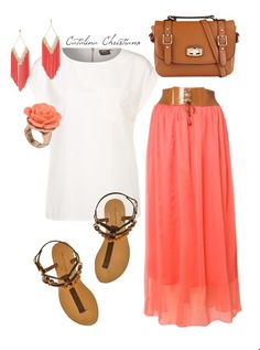 ... clothe outfit idea with white top and and pink dress - Miss Pool