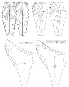 주름 배기 팬츠 draped jersey sewing pattern                                                                                                                                                                                 More