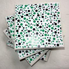 Green and Black Polka Dot Ceramic Coasters