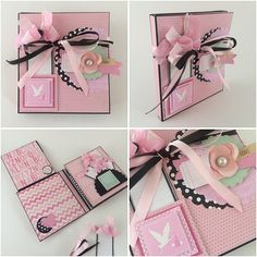 Baby Girl Scrapbook Album with Flowers - Mini Album in a Box - Journal Book for New Baby - Accordion Style Photo Album - Album in a Box - Pink and