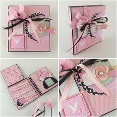 Livre de bébé fille Photo Album - rose et noir - bébés année premier mémoire Journal Album - scrapbooking-Album de bébé - bébé