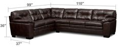 $899 - Living Room Furniture - Magnum 2-Piece Sectional - Brown