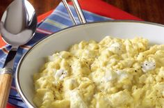 Fluffier Eggs with Ease – Don't have time to cook bacon or sausage to serve along with your eggs?Boost the protein of the eggs by stirring a little BREAKSTONE'S or KNUDSEN Cottage Cheese into the hot scrambled eggs.Not only will you get some extra protein, but the cottage cheese will make the cooked eggs fluffier, too! #PinThatTwist