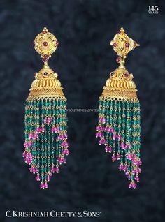 Gold Ruby Emerald Buttalu Design, Gold Buttalu With Rubies and Emeralds.
