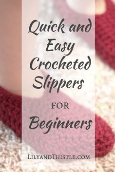 Quick and Easy Crocheted Slippers for Beginners : Looking for a quick project that will make you feel like you have accomplished something? Try this easy tutorial! Crocheted Slippers for Beginners Beginner Crochet Tutorial, Crochet Patterns For Beginners, Easy Crochet Patterns, Knitting For Beginners, Knitting Patterns, Start Knitting, Knitting Designs, Sewing Patterns, Crochet Toddler