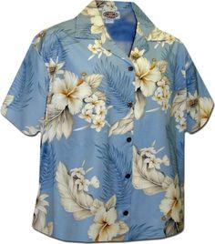 Luau Womens Tropical Hibiscus Camp Shirt Blue XL 3463162 *** Click image for more details.