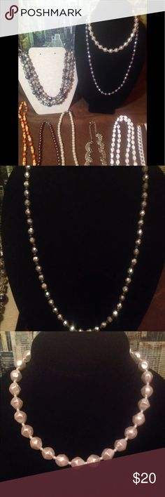 Lot of Vintage Necklaces All are wearable  Only two are marked.  Please see pics the white chain link marked Monet at the links and around the chain the white has rubbed off. Jewelry Necklaces
