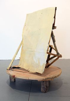 Title: Untitled Table Painting, Yellow Year: 2008 Medium: Oil, housepaint, cardboard, and wood  Size: 107 x 80 x 80 cm
