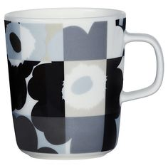 Marimekko Oiva/Ruutu-Unikko Mug - Black/Grey