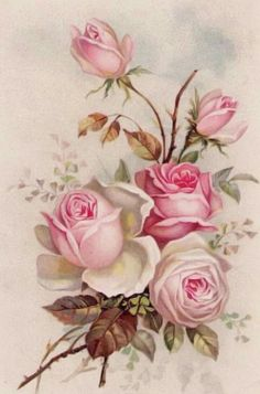 antique-postcard-greeting-card-with-lovely-spray-of-pink-roses-decoupage-col/ - The world's most private search engine Decoupage Vintage, Art Vintage, Antique Art, Fabric Painting, Painting On Wood, Watercolor Paintings, Cooler Painting, Art Floral, Spirit Tattoo